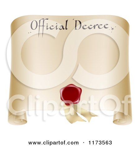 Clipart of a Paper Official Decree Scroll with a Red Wax Seal and Copyspace - Royalty Free Vector Illustration by AtStockIllustration