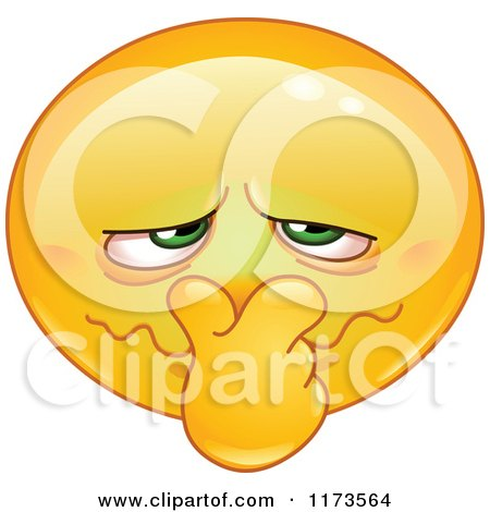 Cartoon of a Yellow Smiley Emoticon Plugging His Nose from a Bad Smell - Royalty Free Vector Clipart by yayayoyo