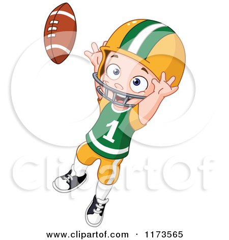 Cartoon of a Boy Jumping to Catch a Football - Royalty Free Vector Clipart by yayayoyo