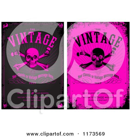 Clipart of Grungy Black and Pink Skull and Crossbones Designs with Sample Text - Royalty Free Vector Illustration by BestVector