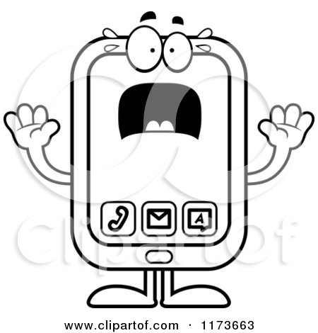 Cartoon Clipart Of A Screaming Smart Phone Mascot - Vector Outlined Coloring Page by Cory Thoman