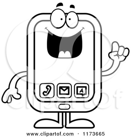 Cartoon Clipart Of A Smart Smart Phone Mascot with an Idea - Vector Outlined Coloring Page by Cory Thoman