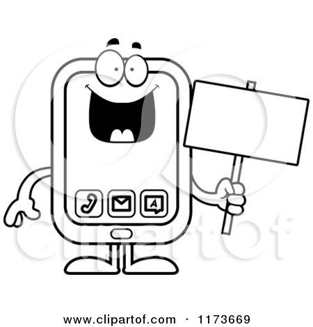 Cartoon Clipart Of A Happy Smart Phone Mascot - Vector ...