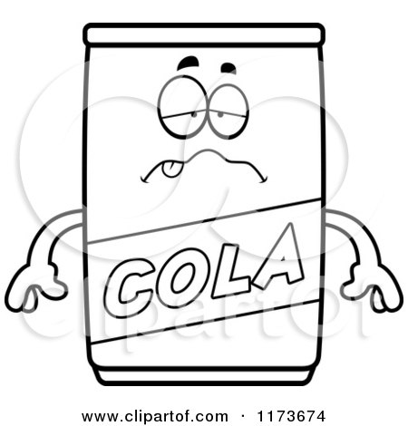 Cartoon Clipart Of A Sick Cola Mascot - Vector Outlined Coloring Page by Cory Thoman