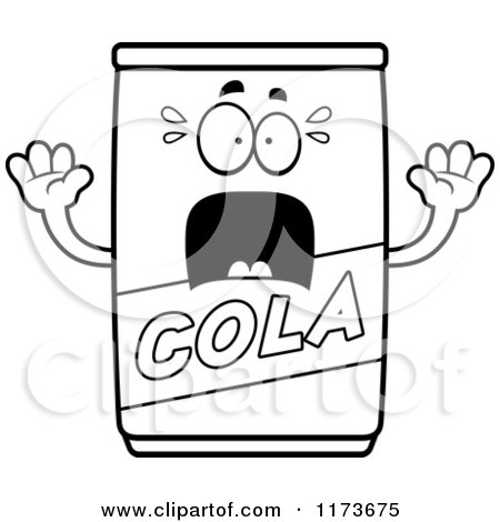 Cartoon Clipart Of A Screaming Cola Mascot - Vector Outlined Coloring Page by Cory Thoman