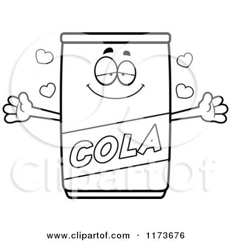 Cartoon Clipart Of A Loving Cola Mascot Wanting a Hug - Vector Outlined Coloring Page by Cory Thoman