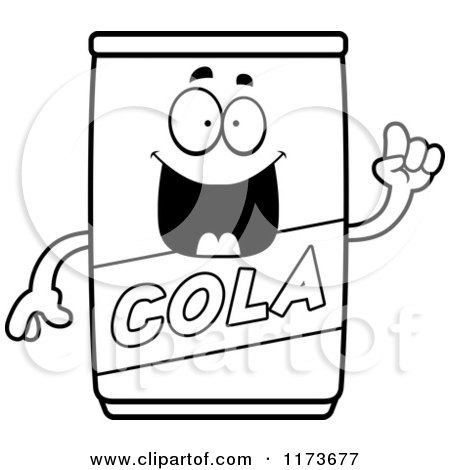 Cartoon Clipart Of A Smart Cola Mascot with an Idea - Vector Outlined Coloring Page by Cory Thoman