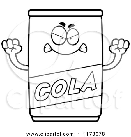 Cartoon Clipart Of A Mad Cola Mascot - Vector Outlined Coloring Page by Cory Thoman