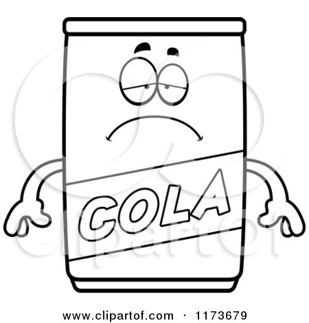 Cartoon Clipart Of A Depressed Cola Mascot - Vector Outlined Coloring Page by Cory Thoman