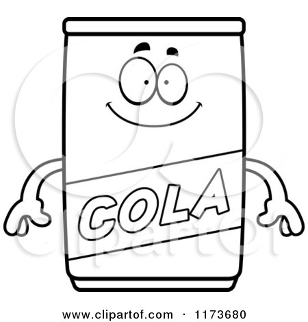 Cartoon Clipart Of A Happy Cola Mascot - Vector Outlined Coloring Page by Cory Thoman
