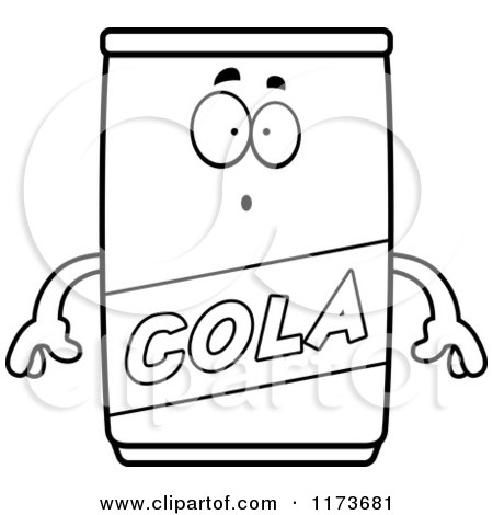 Cartoon Clipart Of A Surprised Cola Mascot - Vector Outlined Coloring Page by Cory Thoman