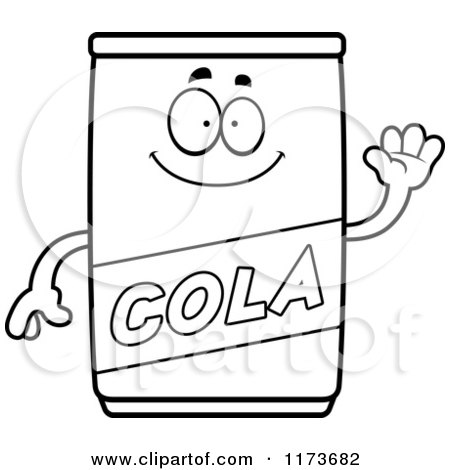 Cartoon Clipart Of A Waving Cola Mascot - Vector Outlined Coloring Page by Cory Thoman