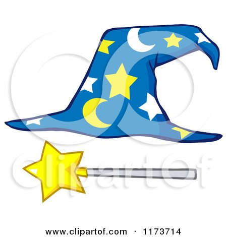 Cartoon of a Moon and Stars Wizard Hat and Wand - Royalty Free Vector Clipart by Hit Toon
