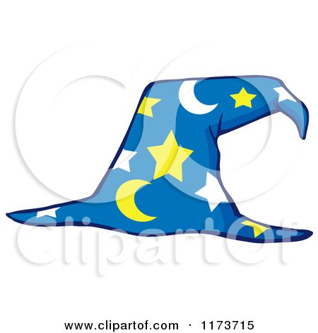 Cartoon of a Moon and Stars Wizard Hat - Royalty Free Vector Clipart by Hit Toon