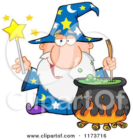 Cartoon of a Wizard Holding a Magic Wand and Stirring a Cauldron - Royalty Free Vector Clipart by Hit Toon