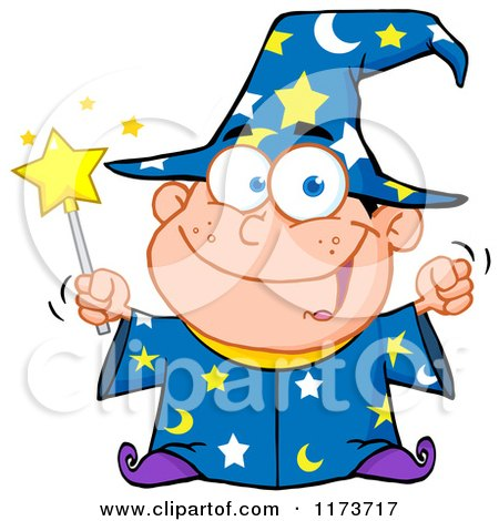 Cartoon of a White Wizard Boy Holding a Wand - Royalty Free Vector Clipart by Hit Toon