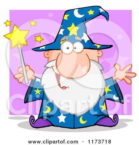 Cartoon of a Happy Old Wizard Man Holding a Magic Wand, over Purple - Royalty Free Vector Clipart by Hit Toon