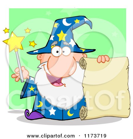 Cartoon of a Happy Old Wizard Man Holding a Scroll and Wand, over Green - Royalty Free Vector Clipart by Hit Toon