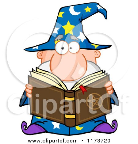 Cartoon of a Wizard Man Reading a Spell Book - Royalty Free Vector Clipart by Hit Toon