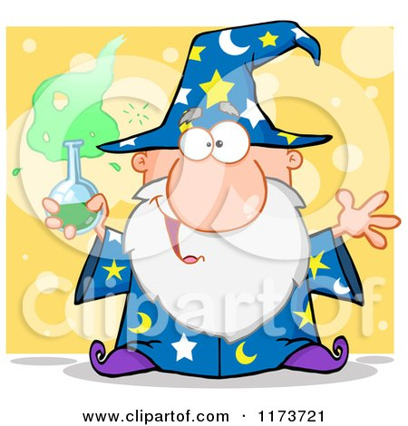 Cartoon of a Crazy Old Wizard Man Holding a Potion, over Yellow - Royalty Free Vector Clipart by Hit Toon