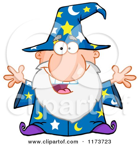 Cartoon of an Excited Old Wizard - Royalty Free Vector Clipart by Hit Toon