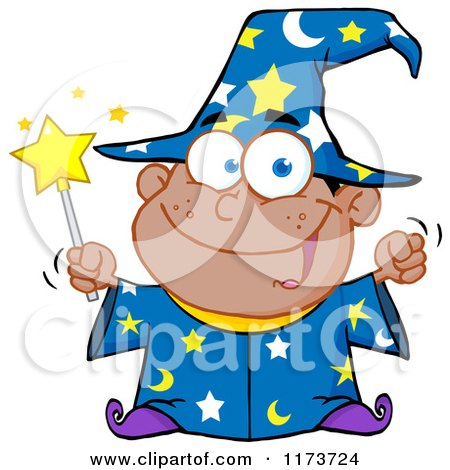 Cartoon of a Black Wizard Boy Holding a Wand - Royalty Free Vector Clipart by Hit Toon