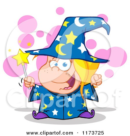 Cartoon of a White Wizard Girl Holding a Magic Wand, with Pink Bubbles - Royalty Free Vector Clipart by Hit Toon
