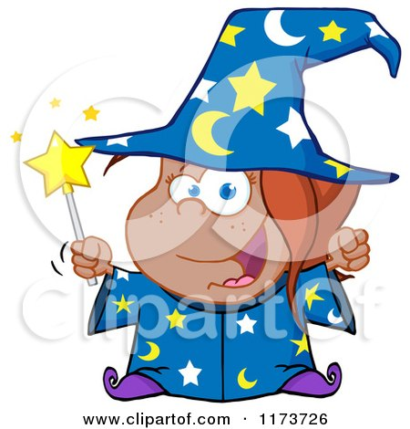 Cartoon of a Black Wizard Girl Holding a Magic Wand - Royalty Free Vector Clipart by Hit Toon