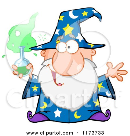 Cartoon of a Old Wizard Man Holding a Science Beaker - Royalty Free Vector Clipart by Hit Toon