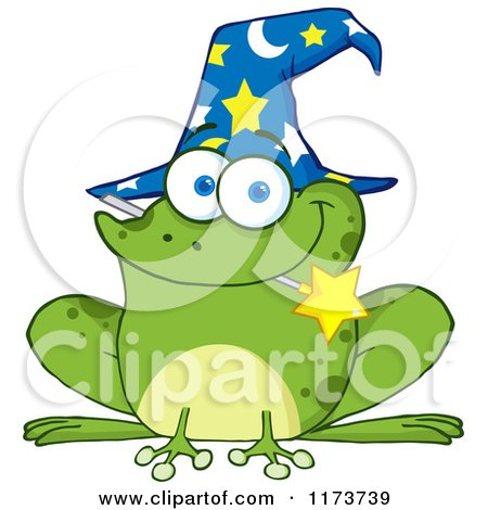 Cartoon of a Wizard Frog with a Hat and Magic Wand in His Mouth - Royalty Free Vector Clipart by Hit Toon