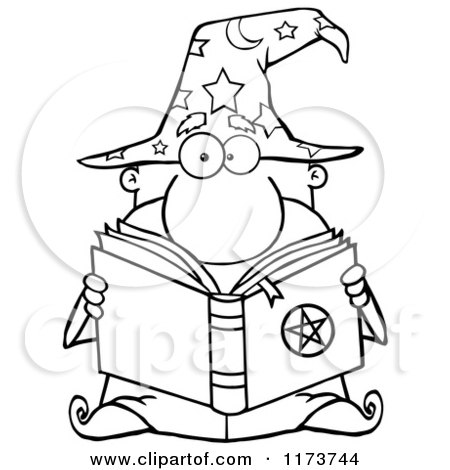 Cartoon of a Black and White Wizard Man Reading a Spell Book - Royalty Free Vector Clipart by Hit Toon