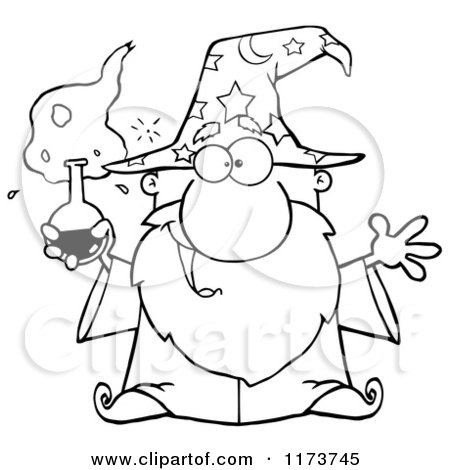 Cartoon of a Black and White Old Wizard Man Holding a Potion - Royalty Free Vector Clipart by Hit Toon