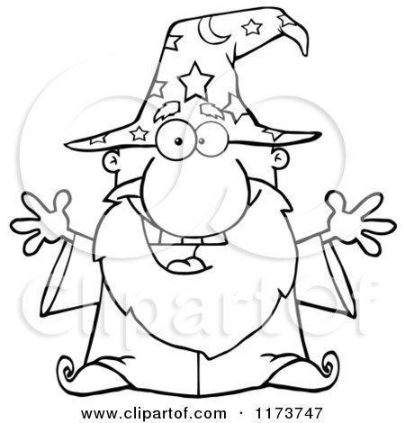 Cartoon of a Black and White Excited Old Wizard - Royalty Free Vector Clipart by Hit Toon