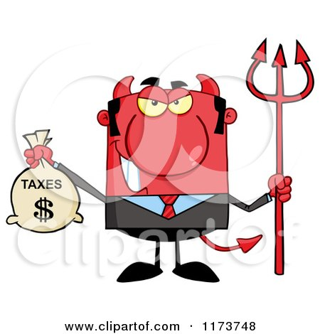 Cartoon of a Devil Business Tax Man with a Money Bag and Pitchfork - Royalty Free Vector Clipart by Hit Toon