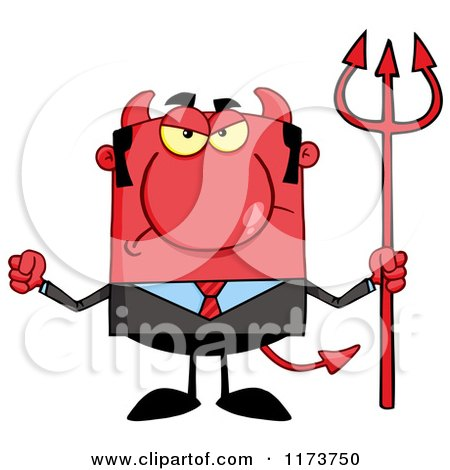Cartoon of a Mad Devil Businessman with a Pitchfork, Waving a Fist - Royalty Free Vector Clipart by Hit Toon