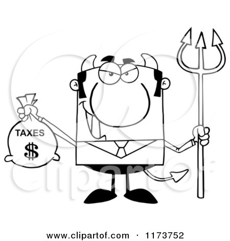 Cartoon of a Black and White Devil Business Tax Man with a Money Bag and Pitchfork - Royalty Free Vector Clipart by Hit Toon