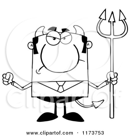 Cartoon of a Mad Black and White Devil Businessman with a Pitchfork, Waving a Fist - Royalty Free Vector Clipart by Hit Toon