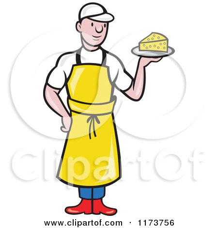 Clipart of a Cartoon Male Cheesemaker Holding a Plate - Royalty Free Vector Illustration by patrimonio