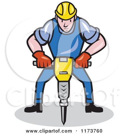 Clipart of a Cartoon Construction Worker Operating a Jack Hammer ...