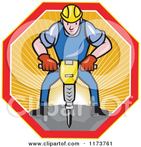 Clipart of a Cartoon Construction Worker Operating a Jack Hammer Pneumatic Drill in a Sunny Hexagon - Royalty Free Vector Illustration by patrimonio