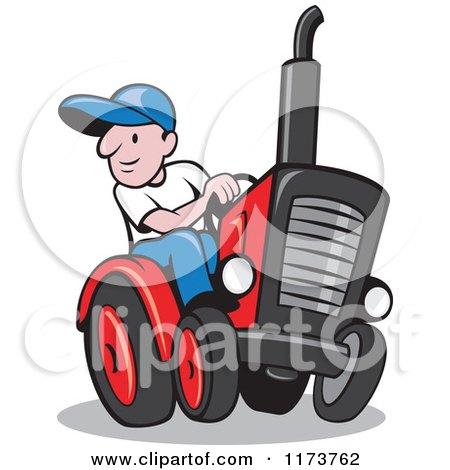 Cartoon Farmer Driving a Tractor Posters, Art Prints