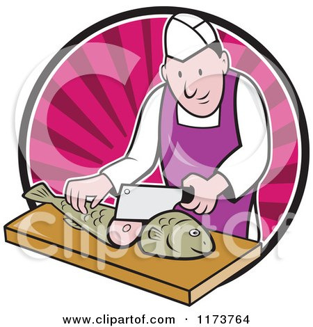 Clipart of a Retro Cartoon Fishmonger Sushi Chef Chopping a Fish over a Pink Circle of Rays - Royalty Free Vector Illustration by patrimonio