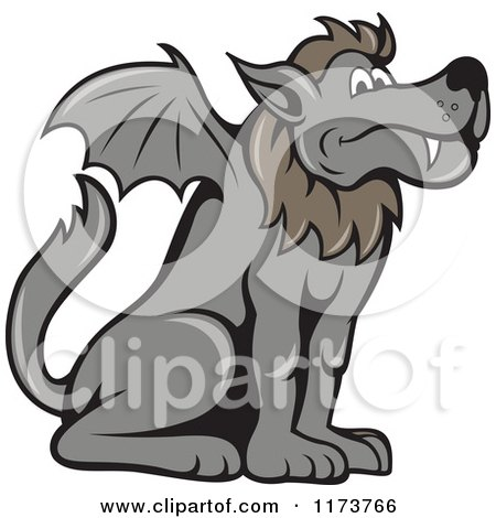 Clipart of a Mythical Kludde Belgian Beast Wolf Bat Dog - Royalty Free Vector Illustration by patrimonio