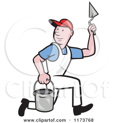 Clipart of a Cartoon Plasterer Construction Worker with Trowel and Pail - Royalty Free Vector Illustration by patrimonio