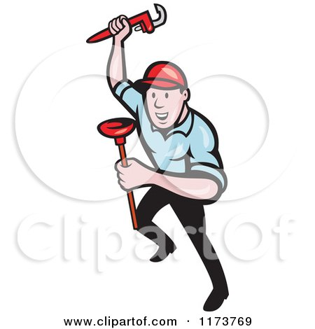 Clipart of a Cartoon Plumber with a Monkey Wrench and Plunger - Royalty Free Vector Illustration by patrimonio