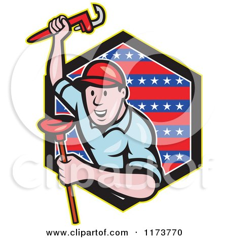 Cartoon Plumber with a Monkey Wrench and Plunger over a Patriotic Hexagon Posters, Art Prints