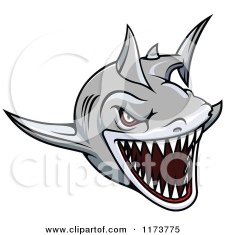 Clipart of an Aggressive Swimming Gray Shark 2 - Royalty Free Vector Illustration by Vector Tradition SM