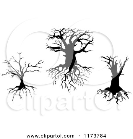 Clipart of Silhouetted Dead Trees and Roots 2 - Royalty Free Vector Illustration by Vector Tradition SM