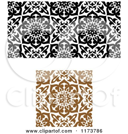 Clipart of Seamless Black Brown and White Arabic Floral Patterns - Royalty Free Vector Illustration by Vector Tradition SM