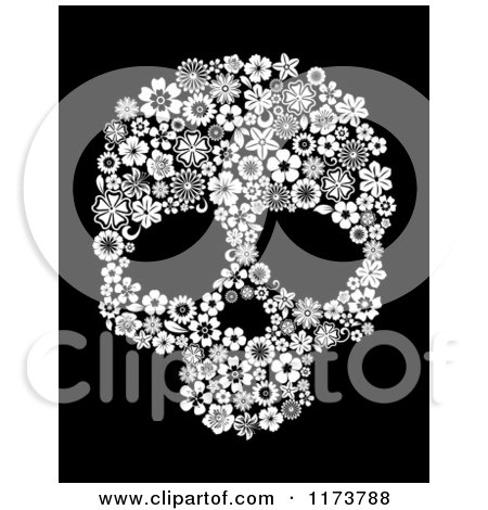 Clipart of a Black and White Floral Skull on Black - Royalty Free Vector Illustration by Vector Tradition SM